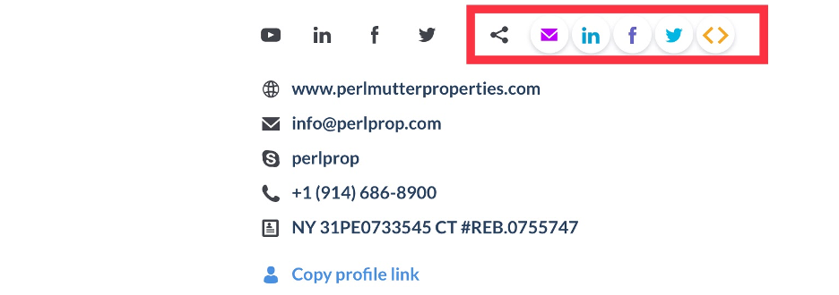 This shows the different ways to share your profile or listing