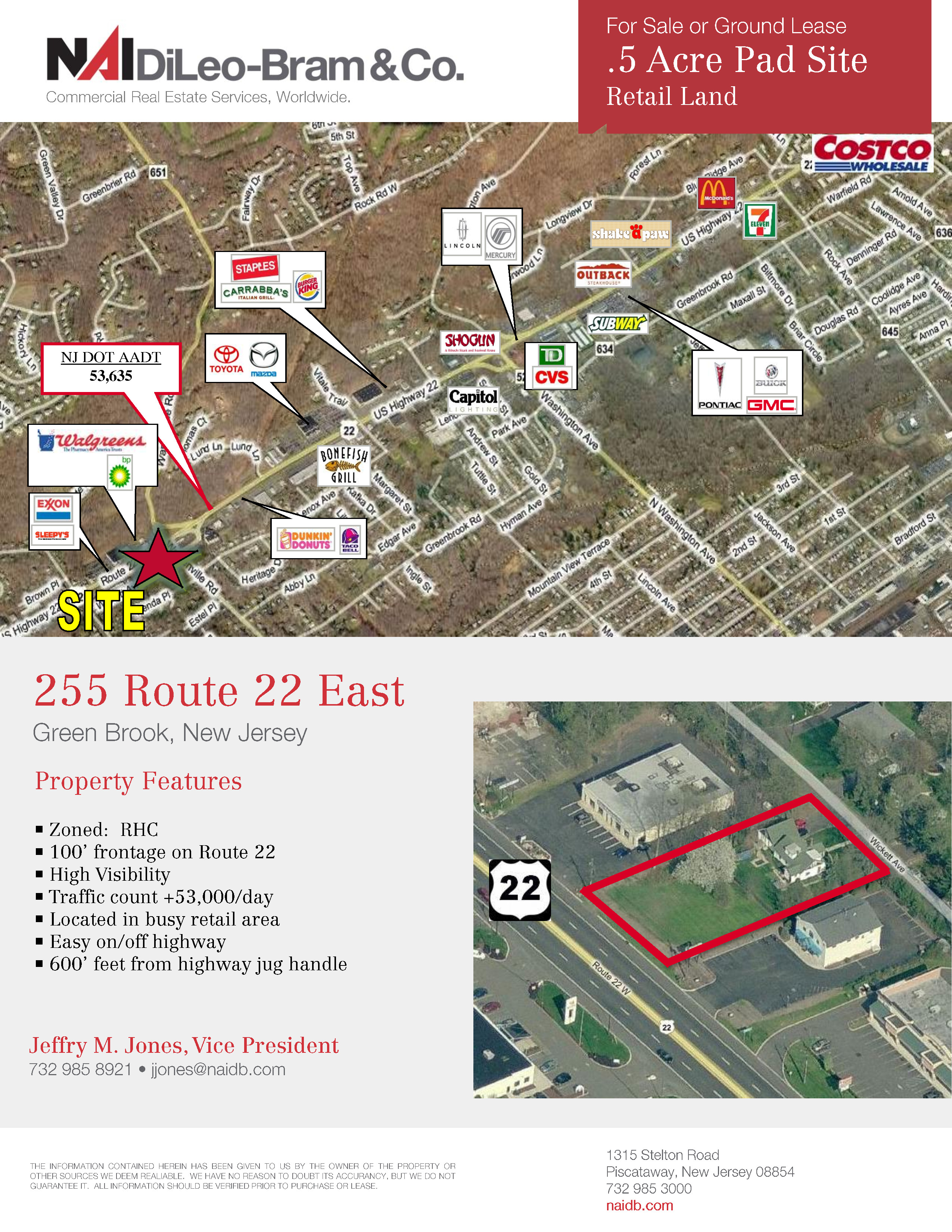 Green Brook Nj >> Retail Pad Site For Sale Or Lease 255 Route 22 East Green Brook Nj