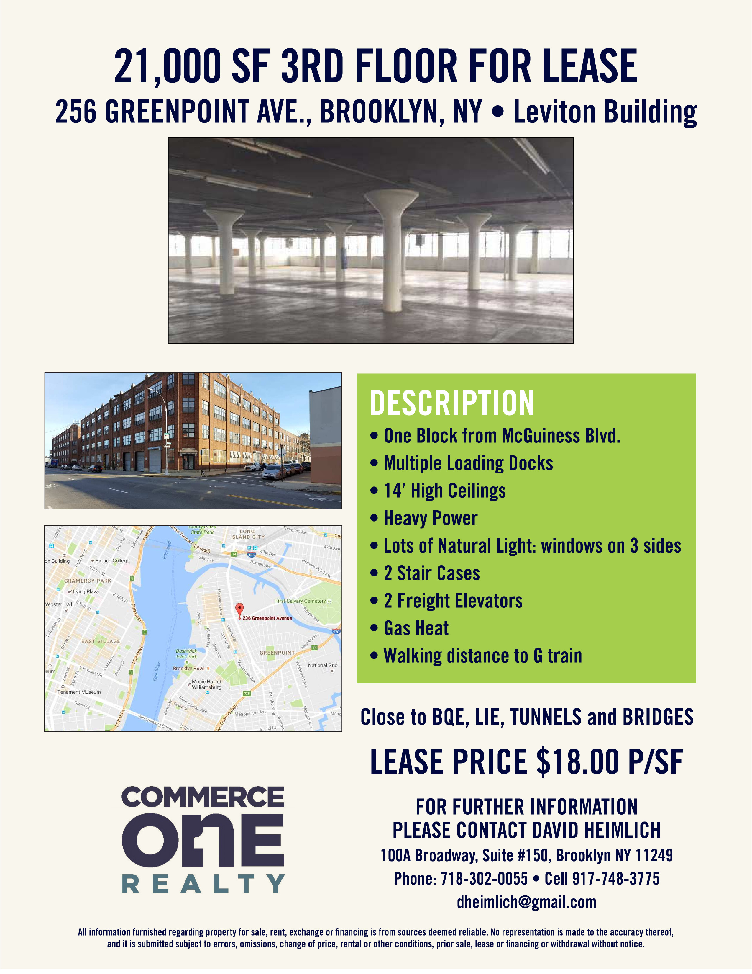 For Lease - Leviton Building 256 Greenpoint Ave, Brooklyn, NY 256
