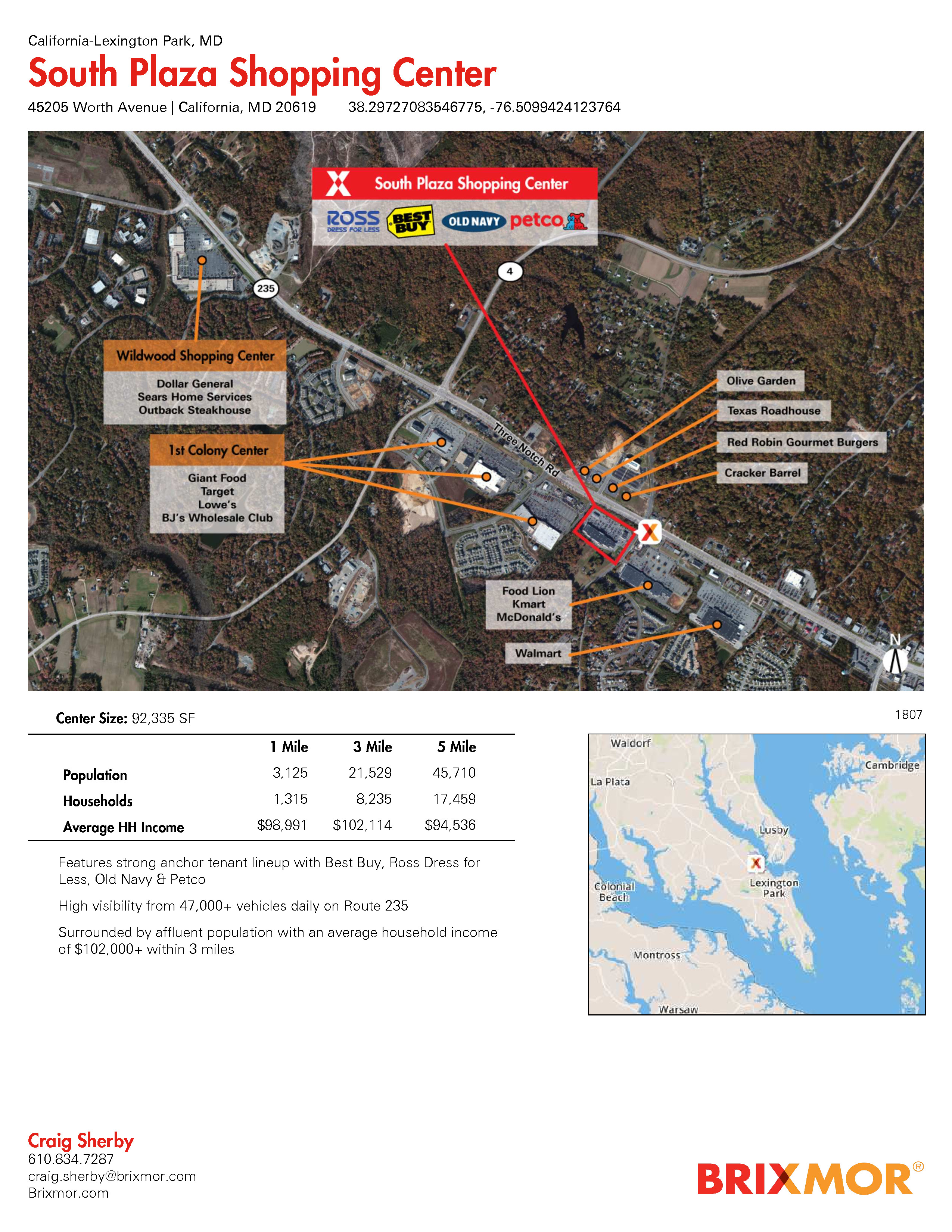 Map Of California Md.Retail Space For Lease South Plaza Shopping Center 45205 Worth